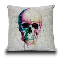 Skull Linen Pillow Cushion WATERCOLOUR