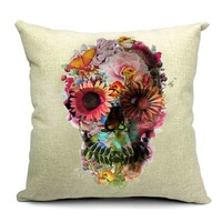 Skull Linen Pillow Cushion BLOOMING NATURE