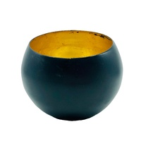 Tealight Candle Holder Bowl BLACK METAL WITH GOLD FOIL