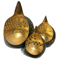 Tealight Candle Holder BUDDHA TEARS CUT OUT Set of 3 BLACK & GOLD