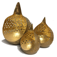 Tealight Candle Holder BUDDHA TEARS CUT OUT Set of 3 GOLD