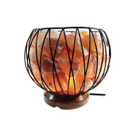 Himalayan Salt Lamp CAGED FIRE BOWL with Wooden Base (220v-240v)