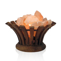 Himalayan Salt Lamp Himalayan Salt Lamp FLARED WOODEN FIRE BOWL with Cord and Globe