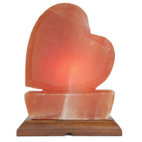 Large Heart - Himalayan Salt Lamp - Wooden Base, Cord, Globe