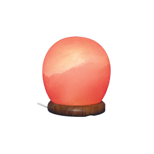 Himalayan Salt Lamp SUNSET ORB with Wooden Base, 1.3m Black Cord & 7 Watt Globe